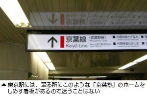 東京駅からディズニーランド・ディズニーシー方面へと行ける京葉線の案内看板